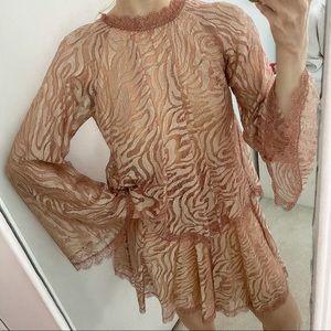SOPHIA KAH Blush Lace Bell Sleeve Dress NWOT 8